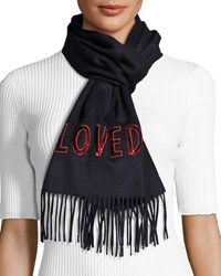 Gucci Loved Silk Cashmere Reversible Scarf Midnight Blue