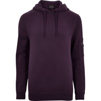 River Island Mens Dark Purple Zip Sleeve Hoodie