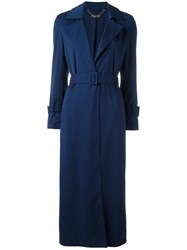 Twin Set Belted Trench Coat Blue