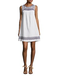 Beach Lunch Lounge Embroidered Cotton Shift Dress White Navy