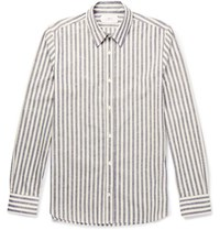 Mr P. Slim Fit Striped Slub Cotton Shirt Ecru