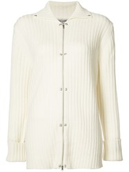 Opening Ceremony Rib Snap Cardigan Women Cashmere Wool Xs White