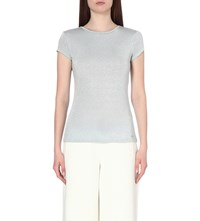 Ted Baker Sparkle Metallic Jersey T Shirt Pale Blue