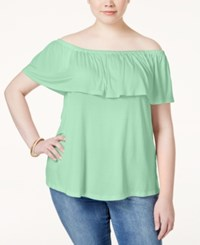 Ing Plus Size Off The Shoulder Ruffled Top Mint