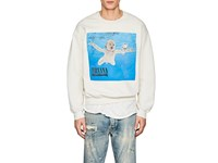 Madeworn Nirvana Nevermind Distressed Cotton Blend Sweatshirt White