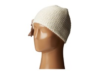 Betsey Johnson Lace Up Beanie Cream Beanies Beige