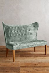 Anthropologie Slub Velvet Wingback Bench Armless Light Mint