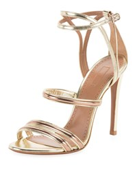 Alaia Mixed Metallic Strappy Sandals Gold
