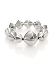 Nest Large Bi Cone Beaded Stretch Bracelet Silver