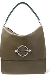 J.W.Anderson Jw Anderson Disc Leather And Suede Shoulder Bag Green