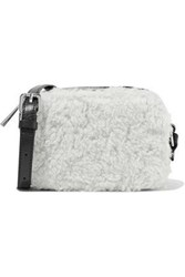Sandro Aida Leather And Shearling Shoulder Bag White