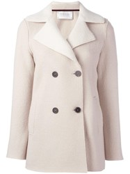 Harris Wharf London Double Breasted Short Coat Nude Neutrals