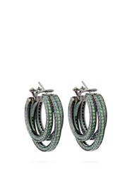Lynn Ban Sonic Sapphire And Rhodium Plated Hoop Earrings Green