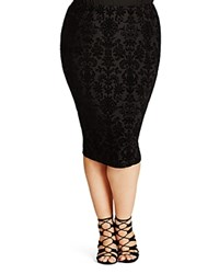 City Chic Burnout Pencil Skirt Black