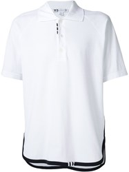 Y 3 Contrasting Trim Polo Shirt White
