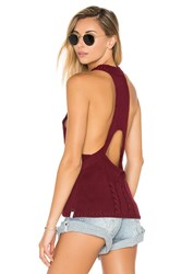 One Teaspoon Frontier Sleeveless Sweater Burgundy