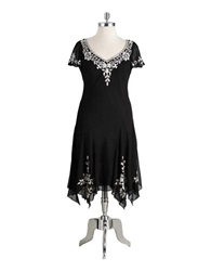 J Kara Plus Plus Size Short Cocktail Dress Black White Silver