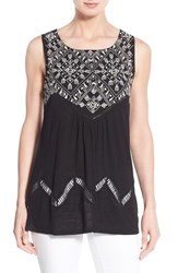 Women's Lucky Brand Back Cutout Embroidered Shell