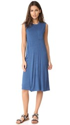 Alexander Wang T By Crew Neck Overlap Dress With Chest Pocket Heather Ocean