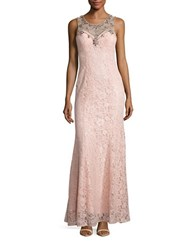Betsy And Adam Sleeveless Embellished Lace Gown