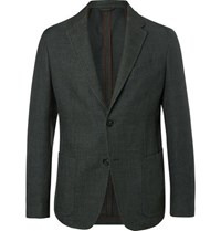 Ermenegildo Zegna Dark Green Slim Fit Unstructured Cotton Blend Blazer Green