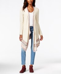 American Rag Marled Border Flyaway Cardigan Sweater Only At Macy's Oatmeal Combo