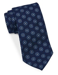 Brooks Brothers Classic Floral Dot Silk Tie Navy