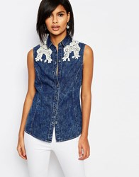 Vero Moda Lace Detail Sleeveless Denim Shirt Denim Blue