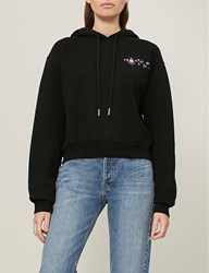 Off White C O Virgil Abloh Mikey Strass Embellished Cotton Jersey Hoody Black