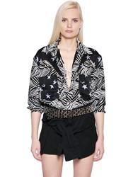 Faith Connexion Star And Zebra Printed Silk Bodysuit