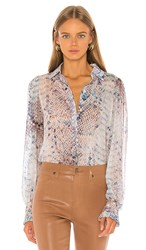 7 For All Mankind Ruffle Cuff Button Up Top In Blue. Pink Snake