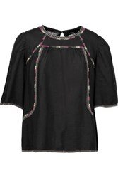 Isabel Marant Clary Embroidered Silk Gauze Top Black
