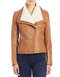 Michael Michael Kors Faux Fur Collared Leather Jacket Luggage