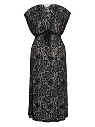 Chesca Lace Maxi Cover Up With Cap Sleeve Black