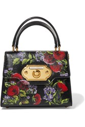 Dolce And Gabbana Welcome Small Floral Print Lizard Effect Leather Tote Black