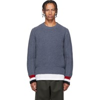 Thom Browne Blue Funmix Stitch Chunky Sweater
