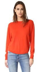 Vince Cashmere Crew Neck Sweater Orange Sunrise