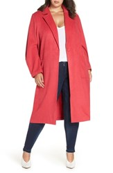Leith Plus Size Single Button Long Jacket Pink Teaberry