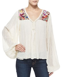 Golden By Jen Rossi Belen Long Sleeve Paradise Embroidered Blouse Natural