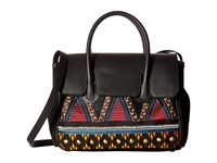 Sam Edelman Sylvia Tribal Kelly Bag Black Embroidered Canvas Handbags