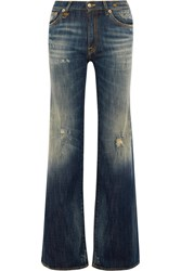 R 13 The Jane Distressed Mid Rise Flared Jeans Blue