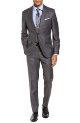 Boss Men's Johnstons Lenon Trim Fit Solid Wool Blend Suit Open Grey