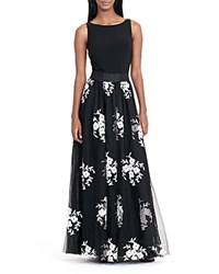 Ralph Lauren Floral Applique Tulle Overlay Gown 100 Bloomingdale's Exclusive Black Ivory