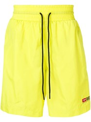 Diesel Nylon Shorts With Contrasting Bands Yellow