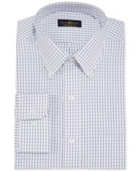 Club Room Estate Wrinkle Resistant White And Blue Tattersall Dress Shirt