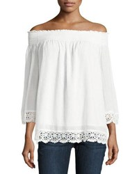 Philosophy Off The Shoulder Crochet Trim Top Off White