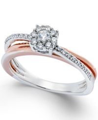 No Vendor Diamond Crossover Promise Ring 1 4 Ct. T.W. In Sterling Silver And 14K Rose Gold