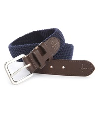 Hackett Dual Fabric Navy Cord Brown Leather Belt