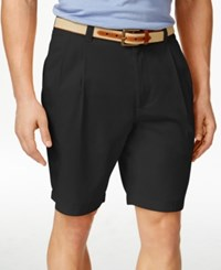 Club Room Men's Double Pleated Cotton Shorts Created For Macy's Deep Black