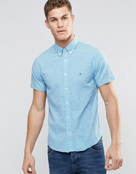 Tommy Hilfiger Shirt In Blue Gingham Check Short Sleeves In Slim Fit Stretch Blithe